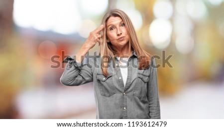 senior beautiful woman suicide sign #1193612479