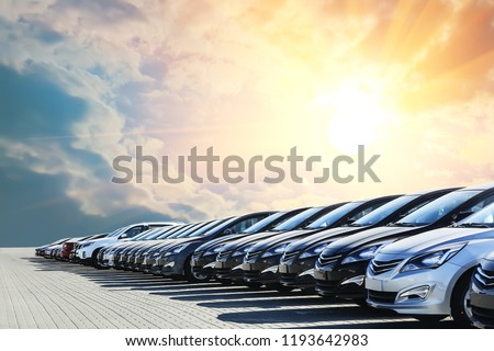 Cars For Sale Stock Lot Row. Car Dealer Inventory #1193642983