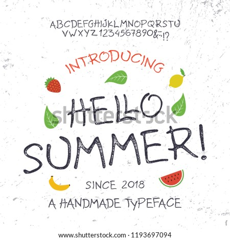 Summer  Font. Hand Made Typeface. Custom handwritten surfers alphabet. Original Letters and Numbers. Vector. #1193697094