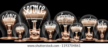 Photo of light bulbs group with shining fibers in a shape of SERVICE concept related words isolated on black background #1193704861