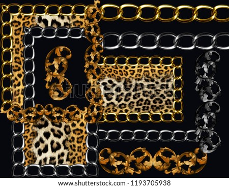 golden baroque and chains leopard bacground #1193705938