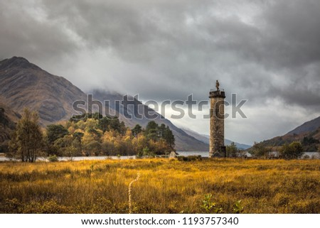 Panoramic view with famous Scottish lake Loch Shiel with Glenfinnan monument, Scotland. #1193757340