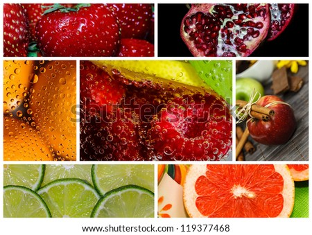 colorful healthy fruit collage #119377468