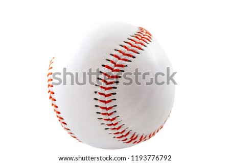Sports equipment and american leisure activity concept with a white leather ball used in the game of baseball isolated on white background with a clip path cutout #1193776792