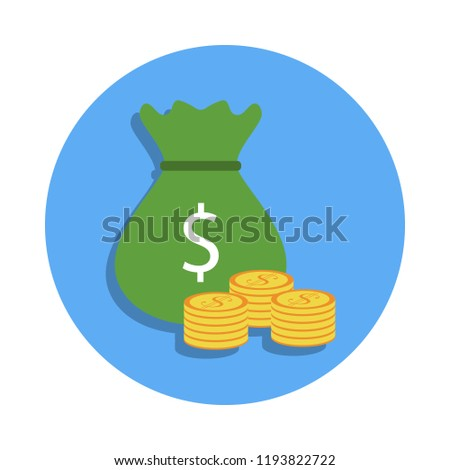 bag of money and coins colored icon in badge style. One of Banking collection icon can be used for UI, UX #1193822722