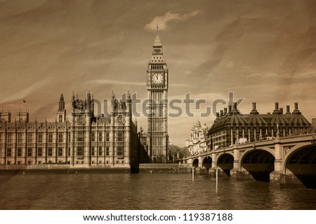 Vintage view of London,  Big Ben & Houses of Parliament #119387188