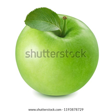 Green cooking apple isolated on white background. Package design element with clipping path #1193878729