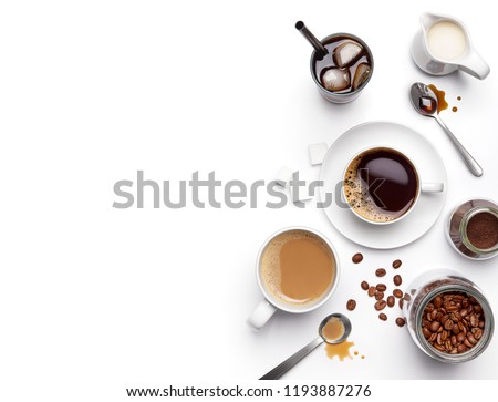 Different types of coffee and ingredients over white background with copy space #1193887276