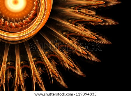 abstract orange circles fractal illustration #119394835