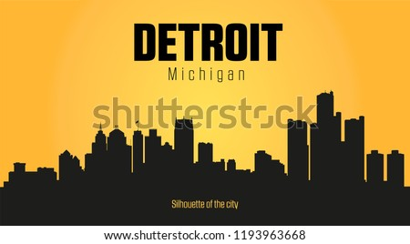 Detroit Michigan city silhouette and yellow background