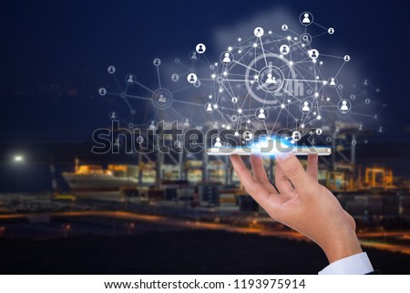 Wireless technology communication network,Industry 4.0,Logistic and transport concept 24 hour of Industrial Container Cargo freight ship for Concept of fast or instant shipping. #1193975914
