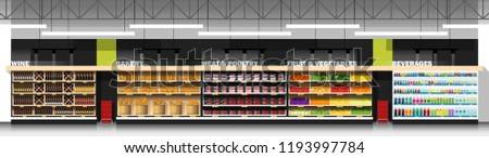 Interior scene of modern supermarket with products , vector , illustration #1193997784