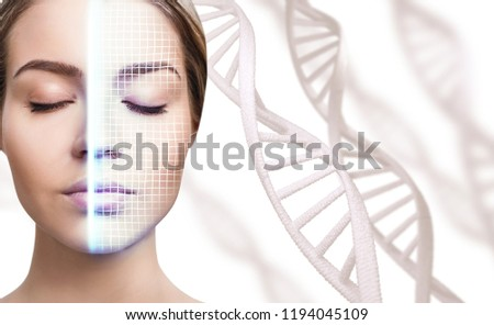 Technological scanning of face of young woman among DNA stems. Concept of security. #1194045109