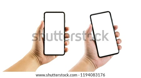 Man hand holding the smartphone full screen with blank screen . isolated on white background. #1194083176