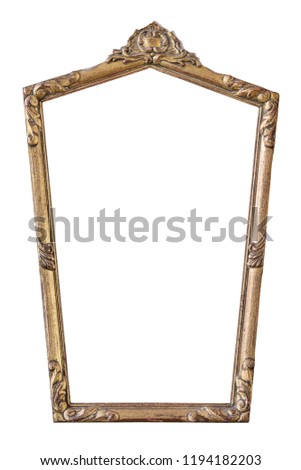 Vintage gilded pentagonal frame with an ornament isolated on white. Retro style.