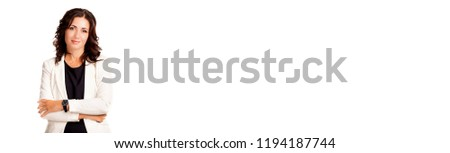 Portrait of beautiful, attractive businesswoman isolated on abstract blurred white background with copy space. Natural beauty adult female with dark brunette hair. Business, career and success concept Royalty-Free Stock Photo #1194187744