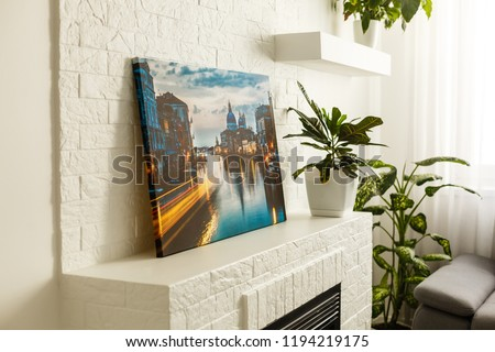 Modern lliving room interior with venice, italy, canvas on the wall