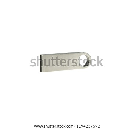 Metal USB flash drive storage isolated on a white background #1194237592