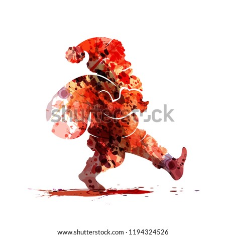 Watercolor silhouette of Santa Claus. Vector illustration #1194324526