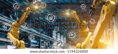 heavy automation robot arm machine in smart factory industrial,Industry 4.0 concept image.  #1194326800