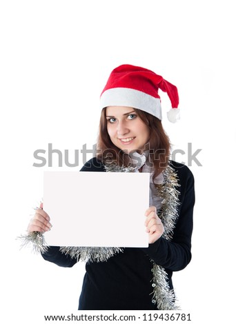girl in a red cap keeps the ad isolated on white background #119436781