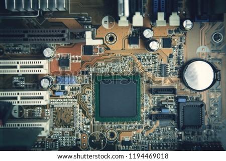 Computer motherboard. Motherboard digital chip. Technology background #1194469018