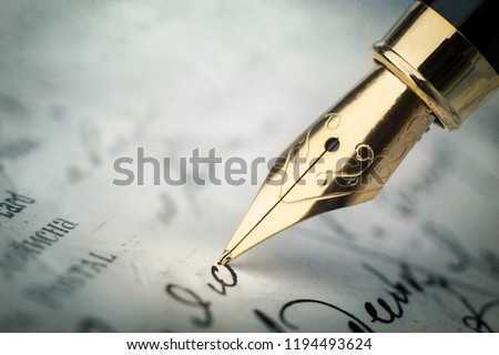 Fountain pen on an vintage handwritten letter. Old history background. Retro style. #1194493624