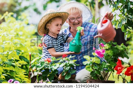 Gardening with kids. Grandmother and her grandchild enjoying in the garden with flowers. Hobbies and leisure, lifestyle, family life #1194504424