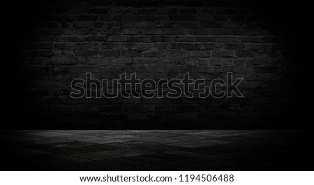 Background of an empty room with a brick wall, cracks, searchlight lights, neon light. #1194506488