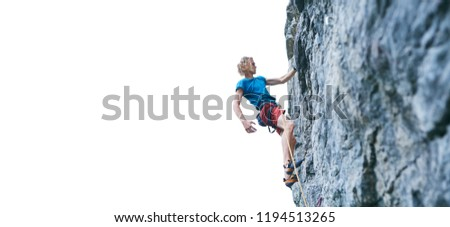 man rock climber with long hair. side view of young man rock climber in bright red shorts resting while climbing the challenging route on the cliff on the white background. #1194513265