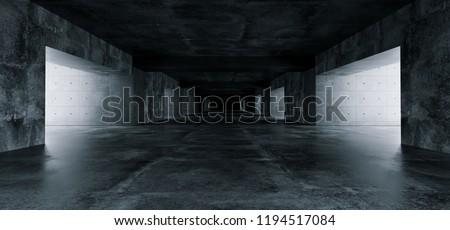 Empty Elegant Modern Grunge Dark Reflections Concrete Underground Tunnel Room With Bright White Lights Background Wallpaper 3D Rendering Illustration