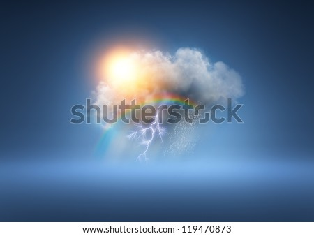 All Weather Cloud - A cloud with lots of weather elements! Royalty-Free Stock Photo #119470873