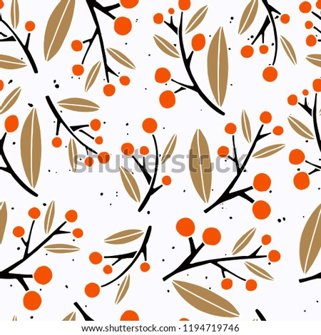 Seamless pattern with floral theme. Flowers and branches in a flat style. Laconic and modern Scandinavian style. Ideal for textiles and fabrics. Vector illustration #1194719746