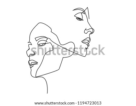 Continuous line, drawing of set faces and hairstyle, fashion concept, woman beauty minimalist, vector illustration for t-shirt, slogan design print graphics style  Royalty-Free Stock Photo #1194723013