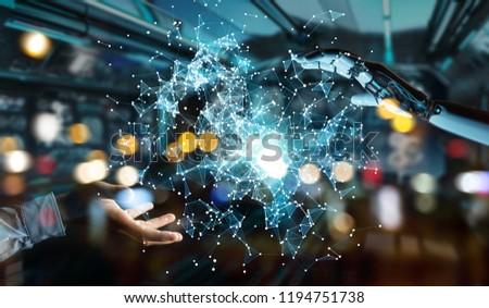 White humanoid hand on blurred background using digital globe hud interface 3D rendering #1194751738
