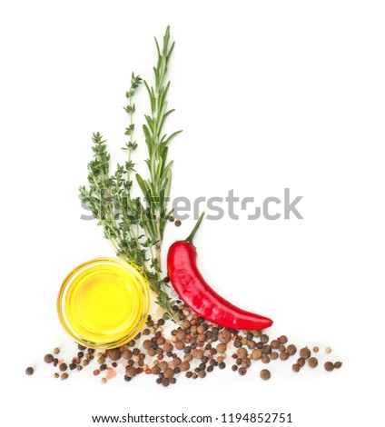 Composition with spices and herbs on white background #1194852751
