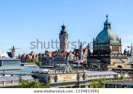 Skyline of Leipzig with townhall and High court #1194853981