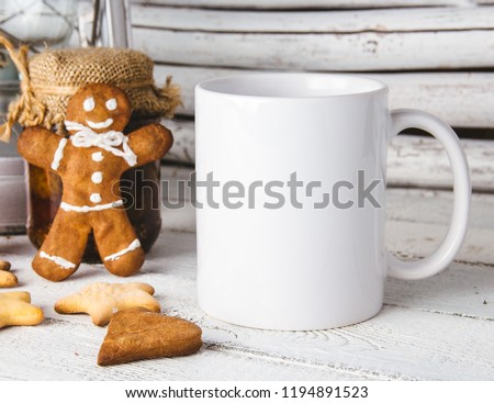 Layout for design of mug, white mug and gingerbread man #1194891523
