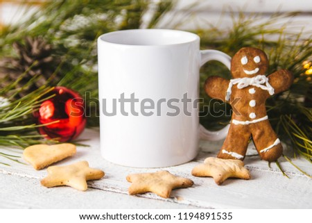 Layout for design of mug, white mug and gingerbread man #1194891535