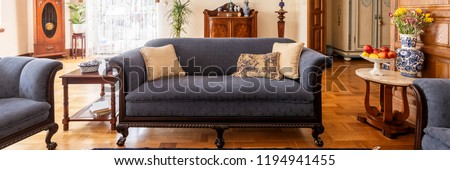 A stylish living room interior with antique furniture. Classic sofa on wooden floor. Panorama. Real photo. Royalty-Free Stock Photo #1194941455
