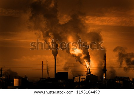 Factory smokestack chimney piping smoke or steam into the air pollution #1195104499