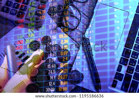Stock market quotes which represent the investment in the real stock exchange. Forex trading in the digital monitor screen. #1195186636