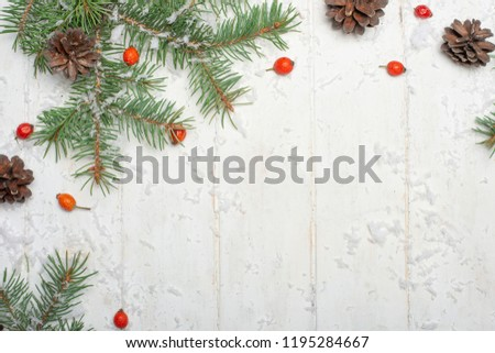 Christmas frame made of fir branches, red berries. Christmas wallpaper. Flat lay, top view, copy space #1195284667