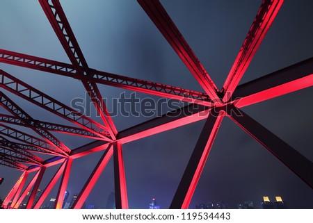 Steel structure bridge close-up night scene #119534443