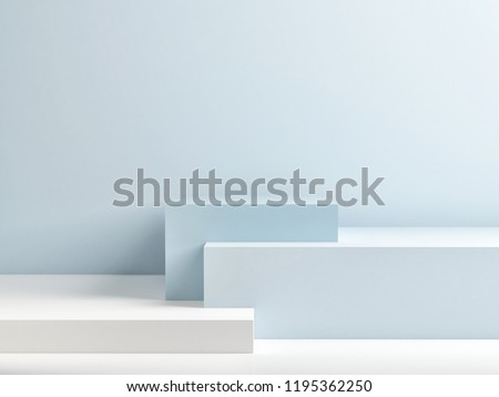 Podium in abstract blue composition, 3d render, 3d illustration