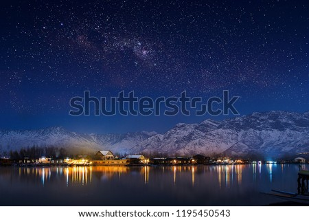 Starry Night in India Kashmir Dal Lake #1195450543