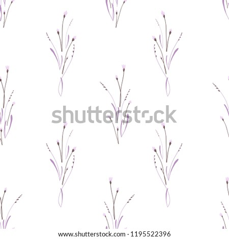 Vector seamless pattern. Minimalistic vintage floral background on white #1195522396