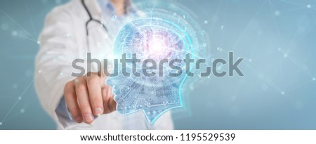 Doctor on blurred background creating artificial intelligence interface 3D rendering #1195529539
