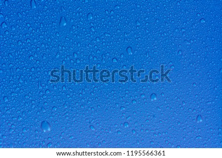 Close up water drops on sky blue tone background. Abstarct ultramarine wet texture with bubbles on window glass surface. Raindrop, Realistic pure water droplets condensed for creative banner design #1195566361