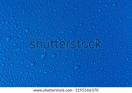 Close up water drops on sky blue tone background. Abstarct ultramarine wet texture with bubbles on window glass surface. Raindrop, Realistic pure water droplets condensed for creative banner design #1195566370